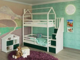 Кровать-домик двухъярусная с угловой лестницей из массива дерева Vita Mia Arcobaleno-3 ( Радуга-3 )