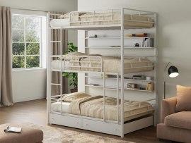 Кровать трехъярусная металлическая Эверест с ящиками и полками