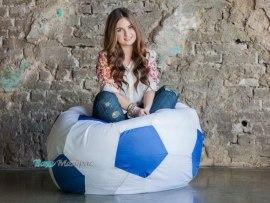 Кресло Мешок Мяч Бело - Голубой Оксфорд