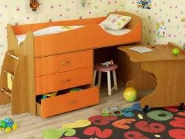 Кровать чердак Карлсон Микро 203 ( с выкатным столом и ящиками )