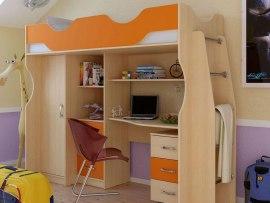 Кровать чердак Карлсон М4 ( с письменным столом и шкафом )
