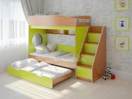Кровать трехъярусная выкатная для детей Легенда 10.5
