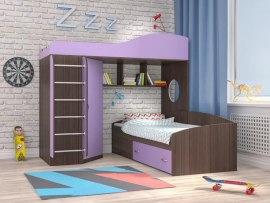 Кровать чердак Ярофф Кадет 2 с металлической лестницей