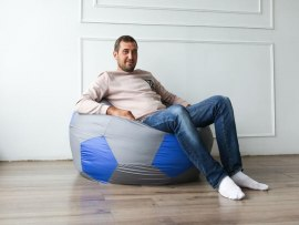 Кресло мешок мяч Dream серо - синий ( оксфорд )