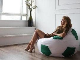 Кресло мешок мяч Dream бело-зеленый ( оксфорд )