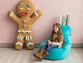 Кресло мешок Dream Зайчик бирюзовый ( микровельвет )
