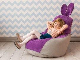 Кресло мешок Dream Зайчик серо - фиолетовый ( микровельвет )