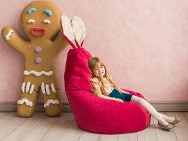 Кресло мешок Dream Зайчик малиновое ( микровельвет )