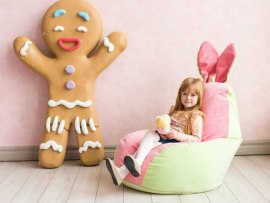 Кресло мешок Dream Зайчик салатово - розовый ( микровельвет )