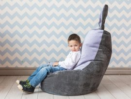 Кресло мешок Dream Зайчик серо - лавандовый ( микровельвет )