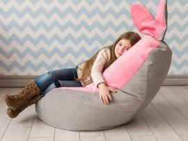 Кресло мешок Dream Зайчик серо - розовый ( микровельвет )