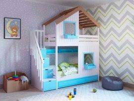 Кровать 2-х ярусная PinoLetto Kolombino ( Коломбино ) с угловой лестницей