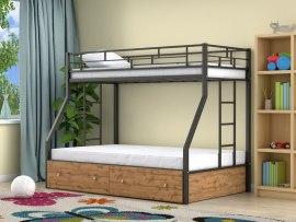 Кровать двухъярусная металлическая Милан с ящиками ( для детей и взрослых )