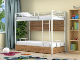Кровать двухъярусная металлическая Ницца с ящиками и полками