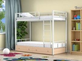 Кровать двухъярусная металлическая Ницца с ящиками