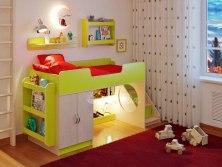 Кровать чердак детская Легенда 2.4 с полками
