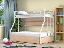 Кровать двухъярусная металлическая Милан с ящиками и полками
