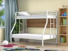 Кровать двухъярусная металлическая Милан с полками