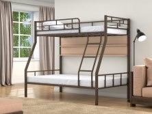 Кровать двухъярусная металлическая Раута с полками