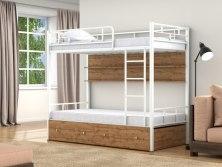 Кровать двухъярусная металлическая Валенсия с ящиками и полками