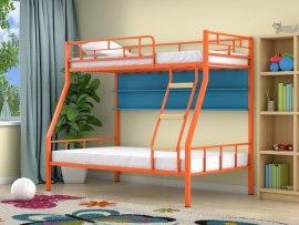 Кровать двухъярусная металлическая Радуга с полками