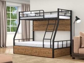 Кровать двухъярусная металлическая Раута с ящиками и полками