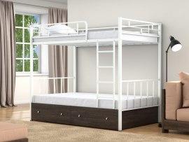 Кровать двухъярусная металлическая Валенсия 120 с ящиками ( для взрослых и детей )