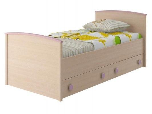 Кровать Интеди детская ИД 01.94 Pink (с выдвижными ящиками) 1