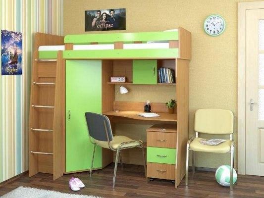 Кровать чердак Карлсон М1 ( с письменным столом и шкафом ) 1