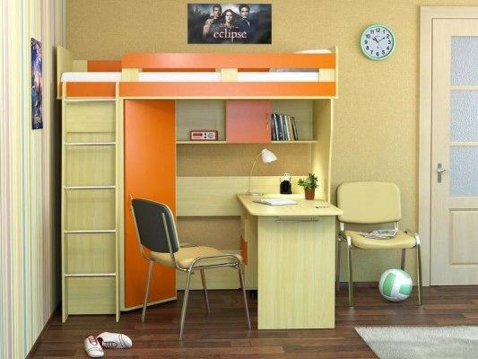 Кровать чердак Карлсон М2 ( с письменным столом и шкафом) 1