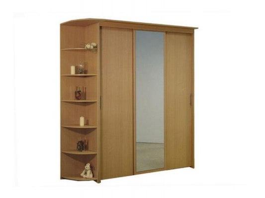 3-х дверный шкаф-купе Орматек с 1 зеркальной дверью и угловым терминалом 1