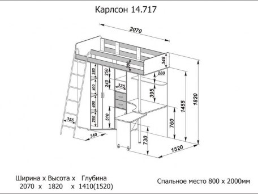 Кровать чердак Карлсон 2 ( с металлической лестницей ) 2