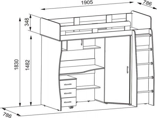 Кровать чердак Карлсон М1 ( с письменным столом и шкафом ) 2