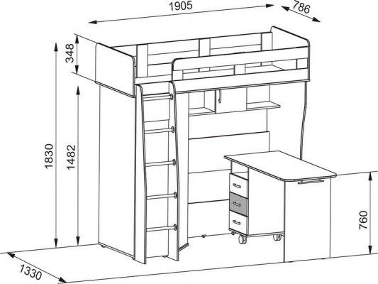 Кровать чердак Карлсон М2 ( с письменным столом и шкафом) 2