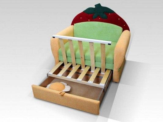 Детский диван-кровать для девочек Малина Ягодка 2