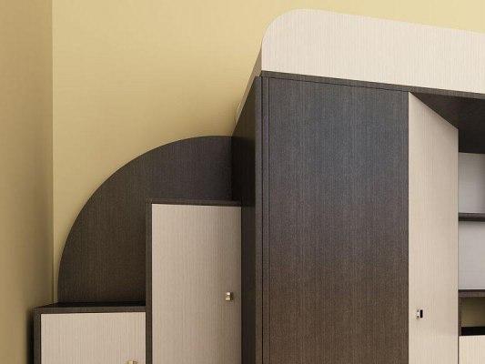 Кровать чердак Ярофф Кадет 1 со столом 3