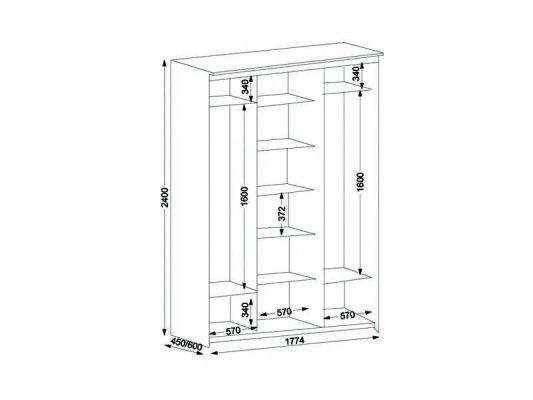 3-х дверный шкаф-купе Орматек с 1 зеркальной дверью 2