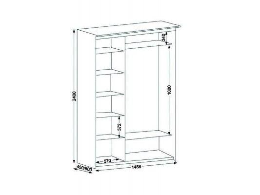 3-х дверный шкаф-купе Орматек с 1 зеркальной дверью 3