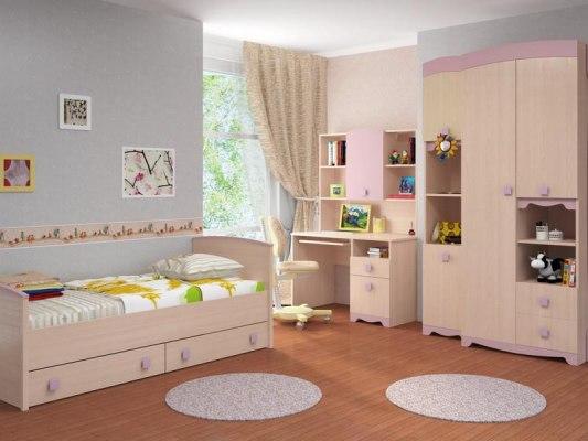 Кровать Интеди детская ИД 01.94 Pink (с выдвижными ящиками) 2