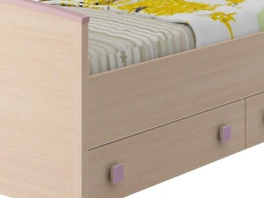 Кровать Интеди детская ИД 01.94 Pink (с выдвижными ящиками) 3