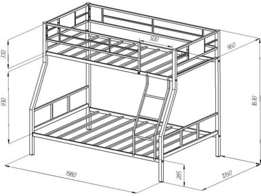 Кровать двухъярусная металлическая Гранада-1Я 2