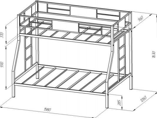 Кровать двухъярусная металлическая Гранада 4