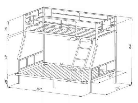 Кровать двухъярусная металлическая Гранада-1П 140 6