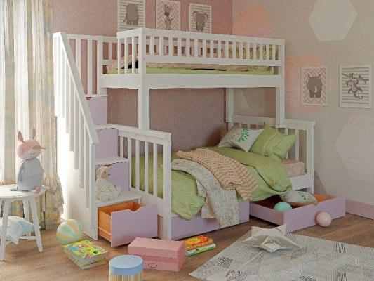 Кровать детская двухъярусная из массива дерева Vita Mia Leila ( Лейла ) 3 места 2