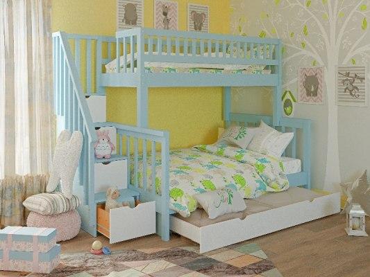 Кровать детская двухъярусная из массива дерева Vita Mia Leila ( Лейла ) 3 места 1