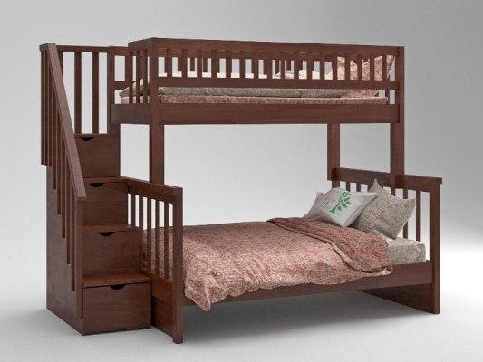 Кровать детская двухъярусная из массива дерева Vita Mia Leila ( Лейла ) 3 места 3