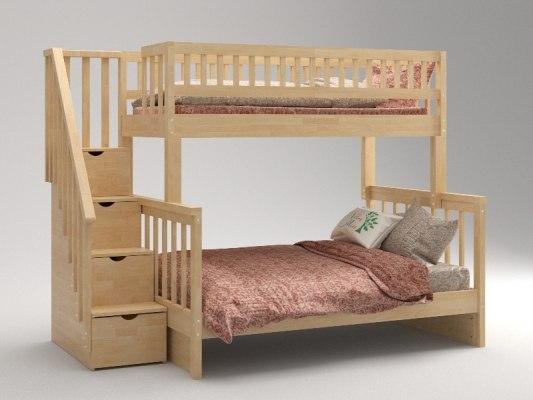 Кровать детская двухъярусная из массива дерева Vita Mia Leila ( Лейла ) 3 места 4