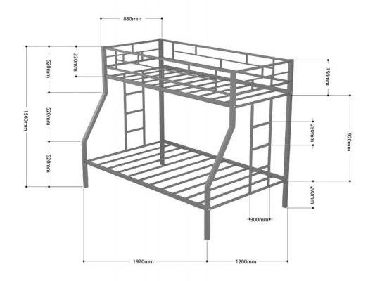 Кровать двухъярусная металлическая Милан ( для детей и взрослых ) 2