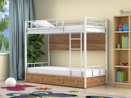 Кровать двухъярусная металлическая Ницца с ящиками и полками 1