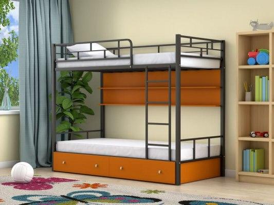 Кровать двухъярусная металлическая Ницца с ящиками и полками 2